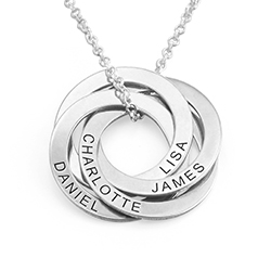 4 Russian Rings Necklace - Sterling Silver