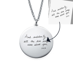Custom Handwriting Disc Sterling Silver Necklace