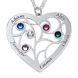 Engraved Heart Family Tree Necklace In Sterling Silver