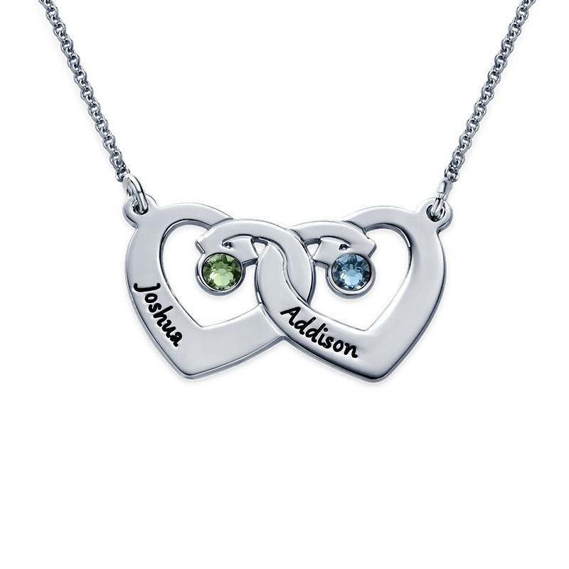 Interlocking Heart Pendant Necklace with Birthstones in Sterling Silver