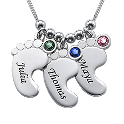 Multiple Baby Feet Necklace