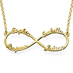 Personalized Family Infinity Necklace in 14K Solid Gold