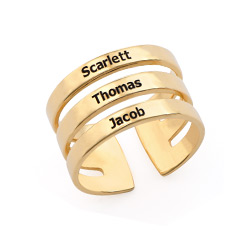 Three Name Ring In Gold Plating
