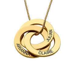 ENGRAVED RUSSIAN RING NECKLACE IN GOLD PLATING