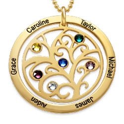 GOLD PLATED PERSONALIZED BIRTHSTONE FAMILY TREE NECKLACE
