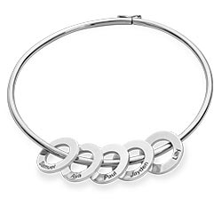 Bangle Bracelet With Round Shape Pendants In Silver