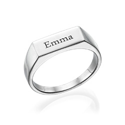 BAR NAME RING IN STERLING SILVER