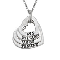 FAMILY HEART STERLING SILVER NECKLACE