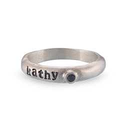BIRTHSTONE STACKABLE STAMPED RING IN STERLING SILVER