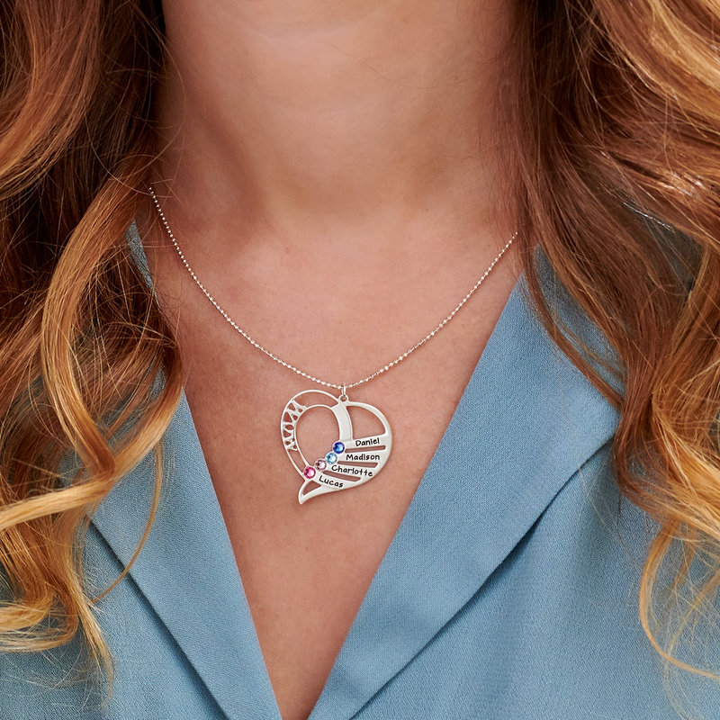 Engraved Mother Heart Necklace in Sterling Silver | Forever My