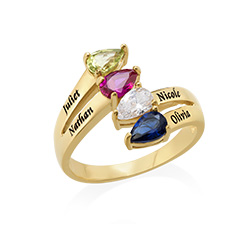 Family Multiple Birthstone Ring in Gold Plating