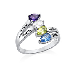Family Multiple Birthstone Ring in Sterling silver