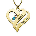 Intertwined Hearts Pendant Necklace with Birthstones in Gold Plating