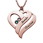 Intertwined Hearts Pendant Necklace with Birthstones in Rose Gold Plating