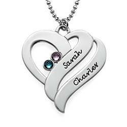 Intertwined Hearts Pendant Necklace with Birthstones in Sterling Silver