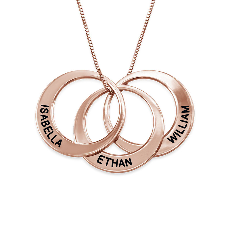 Mother Ring Necklace in Rose Gold Plating