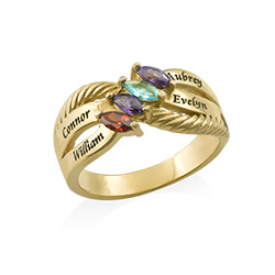 Personalized Family Ring with Birthstones in Gold Plating