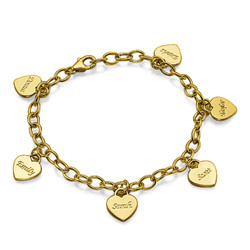 Personalized Heart Charm Bracelet  in Gold Plating