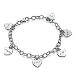 Personalized Heart Charm Bracelet  in Sterling Silver