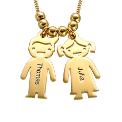 Personalized Kids Charm Necklace for Mom in Gold Plating