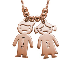 Personalized Kids Charm Necklace for Mom in Rose Gold Plating