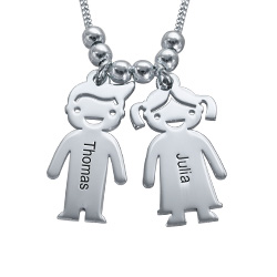 Personalized Kids Charm Necklace for Mom in Silver
