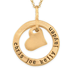 Stamped Circle Heart Pendant Necklace in Gold Plating