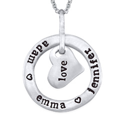 Stamped Circle Heart Pendant Necklace in Sterling Silver