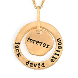 Stamped Family Pendant Necklace with Names Engraved in Gold Plating