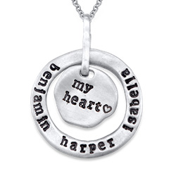 Stamped Family Pendant Necklace with Names Engraved in Silver