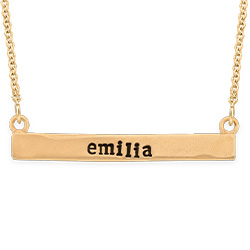 Stamped Horizontal Name Bar Necklace in Gold Plating