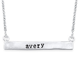 Stamped Horizontal Name Bar Necklace in Silver