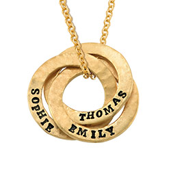 Stamped Interlocking Russian Ring Necklace in Gold Plating