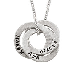 Stamped Interlocking Russian Ring Necklace in Sterling Silver