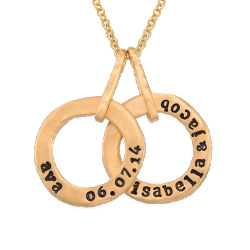 Stamped Personalized Circle Name Necklace for Mom in Gold Plating