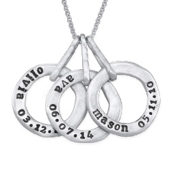 Stamped Personalized Circle Name Necklace for Mom in Silver