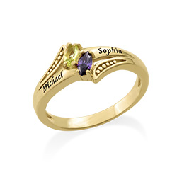 Two Birthstone Engraved Mother Ring in Gold Plating