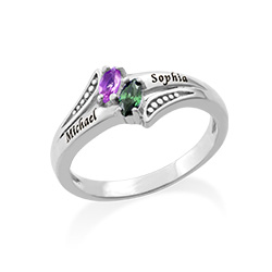 Two Birthstone Engraved Mother Ring in Sterling silver