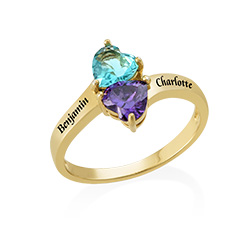 Two Birthstone Ring for Mom with Engraving in Gold Plating