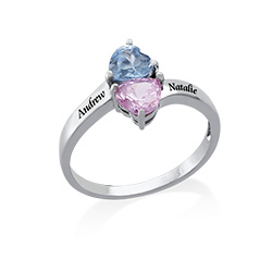 Two Birthstone Ring for Mom with Engraving in Silver
