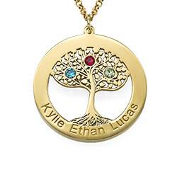 Gold Plated Personalized Tree of Life Necklace