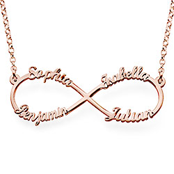 Personalized Family Infinity Necklace in Rose Gold Plating
