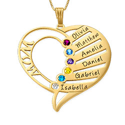 Engraved Mother Heart Necklace - 14K Gold