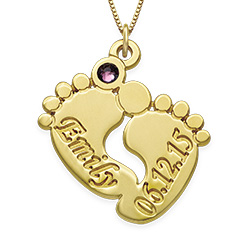 14K Gold Baby Feet Necklace