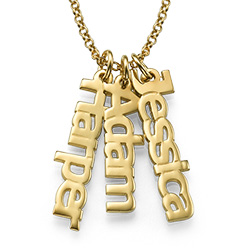 Multiple Vertical Name Necklace in Gold Plating