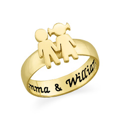 Kids Holding Hands Ring with Gold Plating