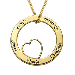 Personalized Love Circle Necklace  in Gold Plated