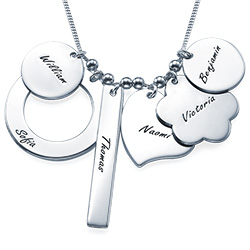 Multi-charm Mothers Necklace in Silver