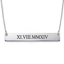 Roman Numeral Bar Necklace in Sterling Silver