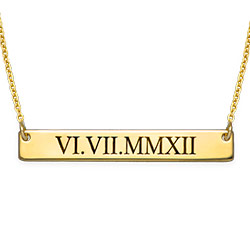 Roman Numeral Bar Necklace in Gold Plating